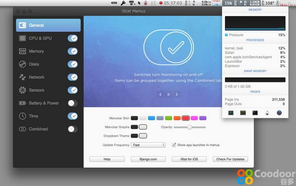 Mac软件-Mac温度监控绿色版:iStat Menus for Mac 5.0.3